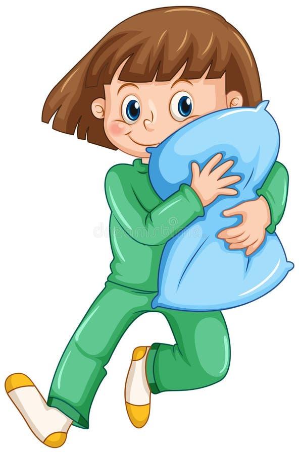 Flicka som kramar kudden på slummerpartiet vektor illustrationer