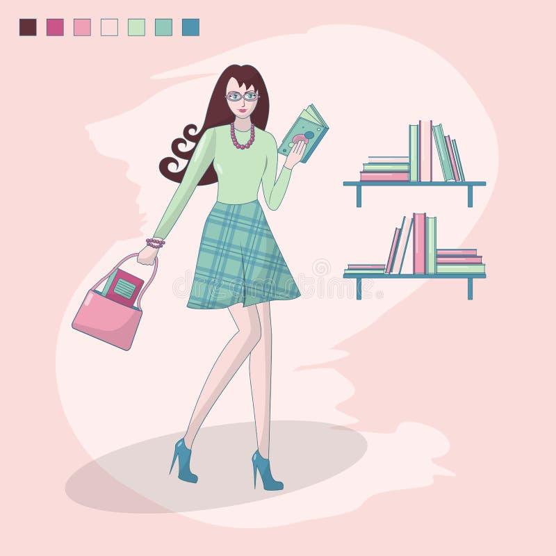 Flicka som läser en bok och en hylla med böcker Boken shoppar arkiv Smart flicka med exponeringsglas study Student l?rare stock illustrationer