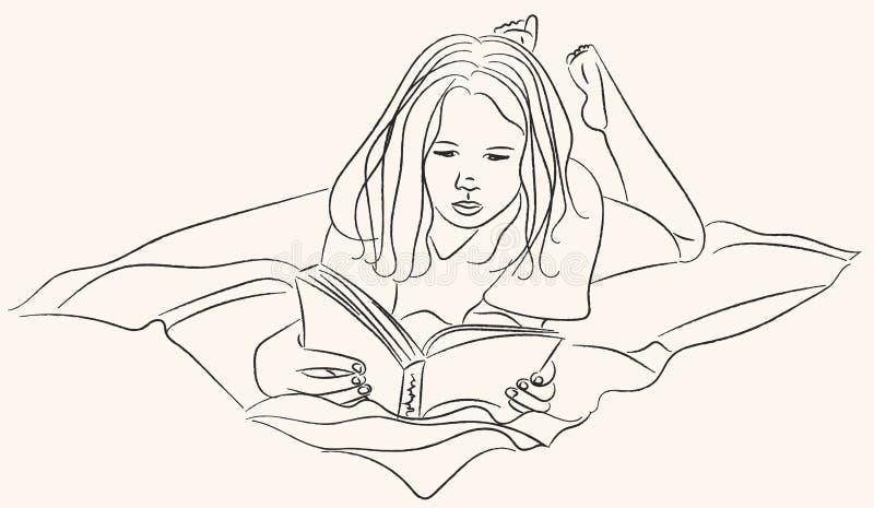 Flicka som läser en boklinje konst royaltyfri illustrationer