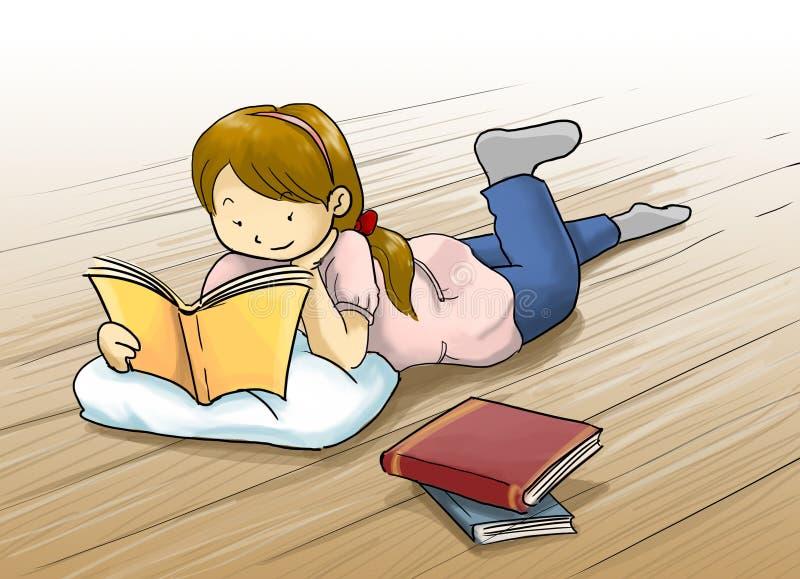 flicka som läser en boktecknad filmillustration stock illustrationer