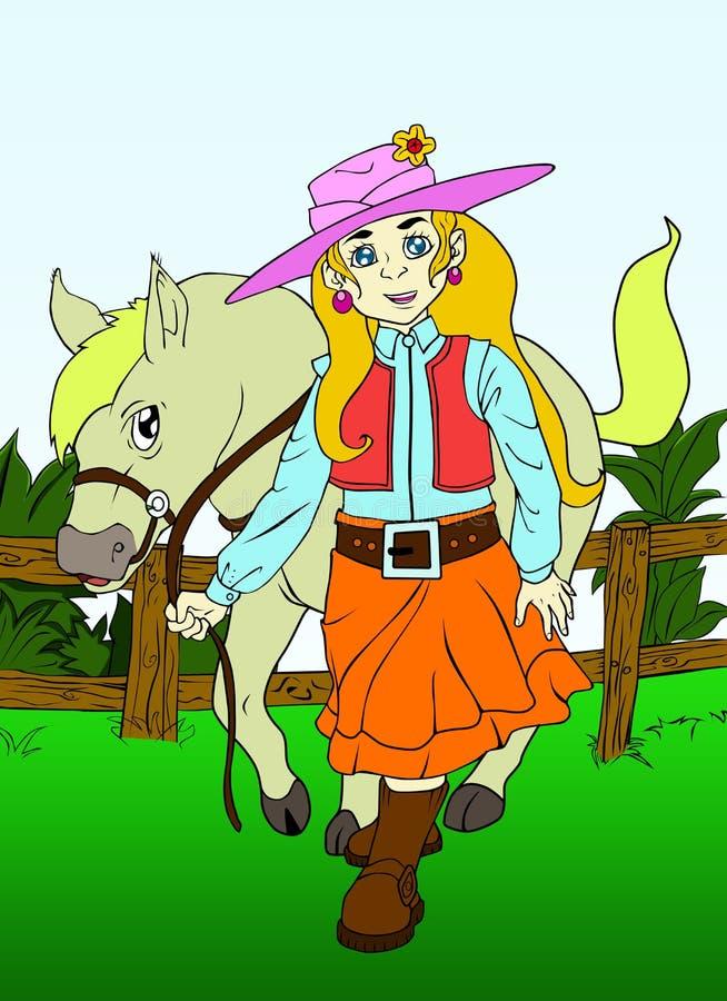 Flicka som leder en häst i en grön lantgård vektor illustrationer