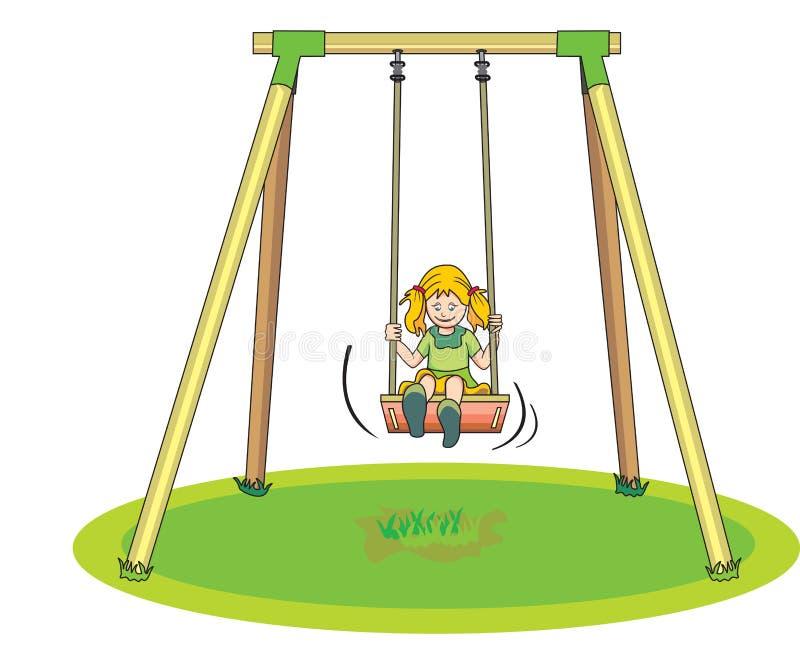 Flicka som leker på en Swing, illustration stock illustrationer