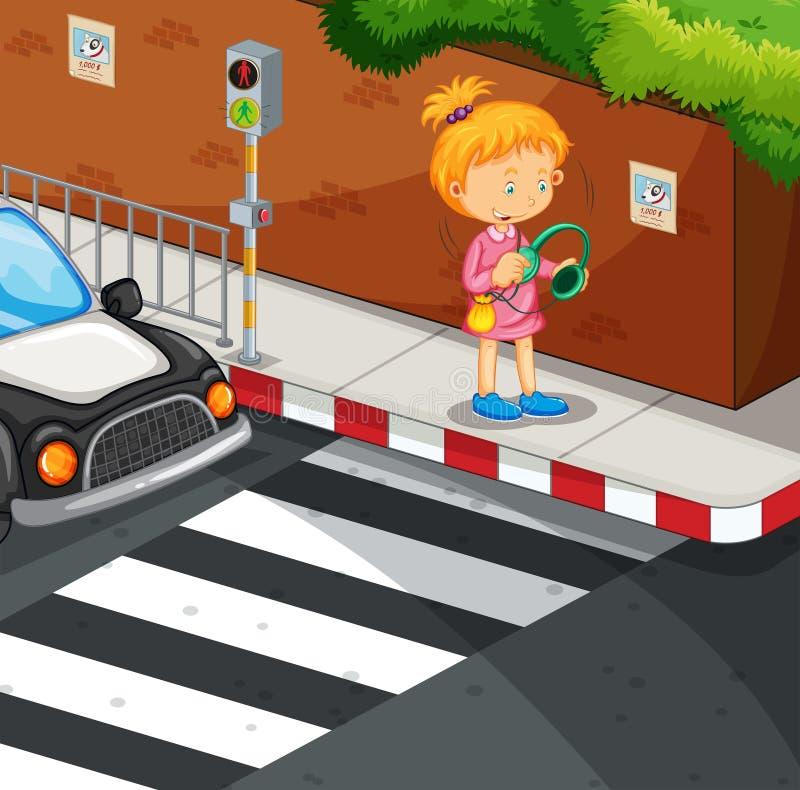 Flicka som lyssnar till musik på trottoaren stock illustrationer