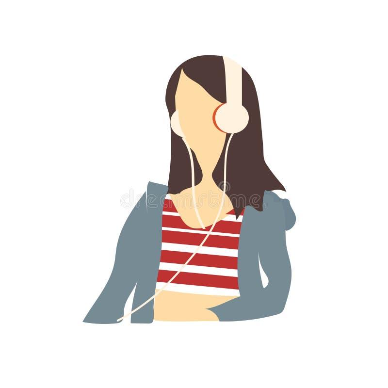 Flicka som lyssnar till tecknet och symbolet för musikvektorvektor som isoleras på vit bakgrund, flicka som lyssnar till musikvek royaltyfri illustrationer