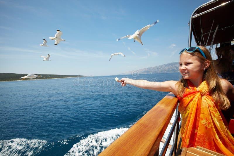 Flicka som matar seagullsna royaltyfria bilder