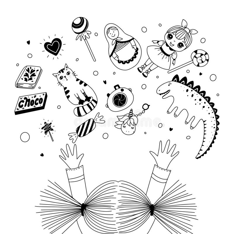 Flicka som når hennes armar till leksaker och sötsaker Svartvit illustration för färgläggningbok Vektoröversiktsillustration royaltyfri illustrationer