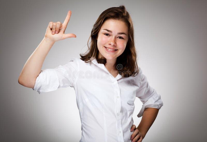 flicka som pekar barn arkivbild