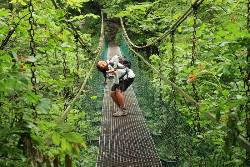 Flicka som poserar på järnbron i slovakiskt paradis arkivbilder