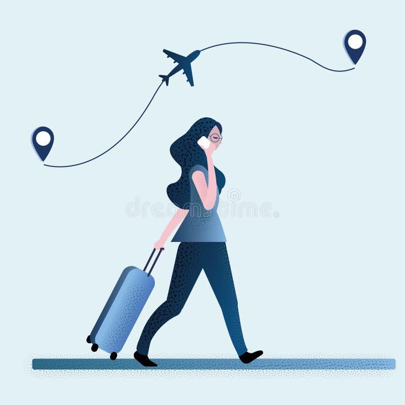 Flicka som reser i flygplatsen arkivfoton