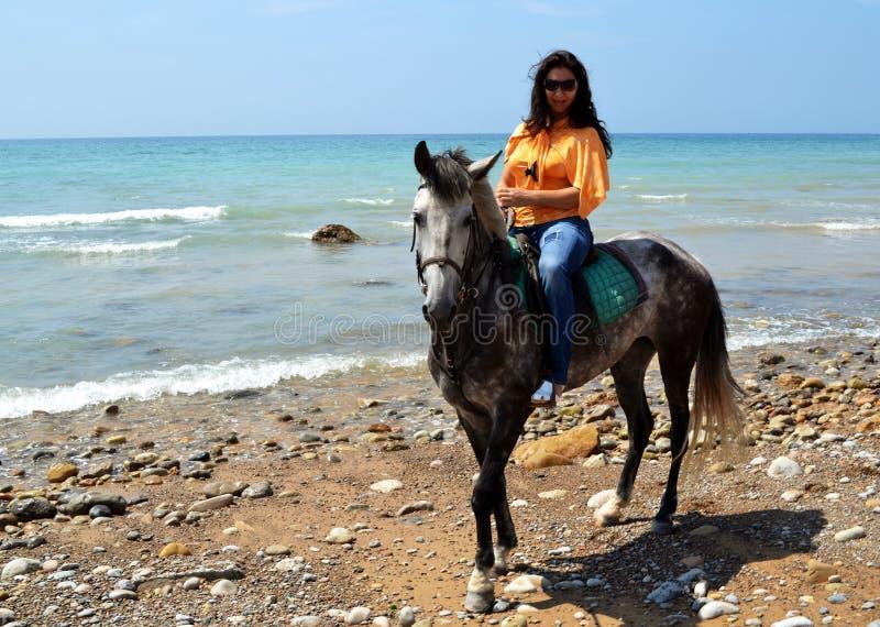 Flicka som rider en häst på stranden royaltyfri bild