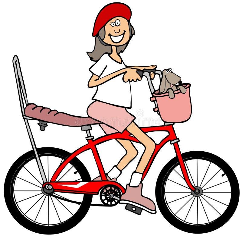 Flicka som rider en röd cykel royaltyfri illustrationer