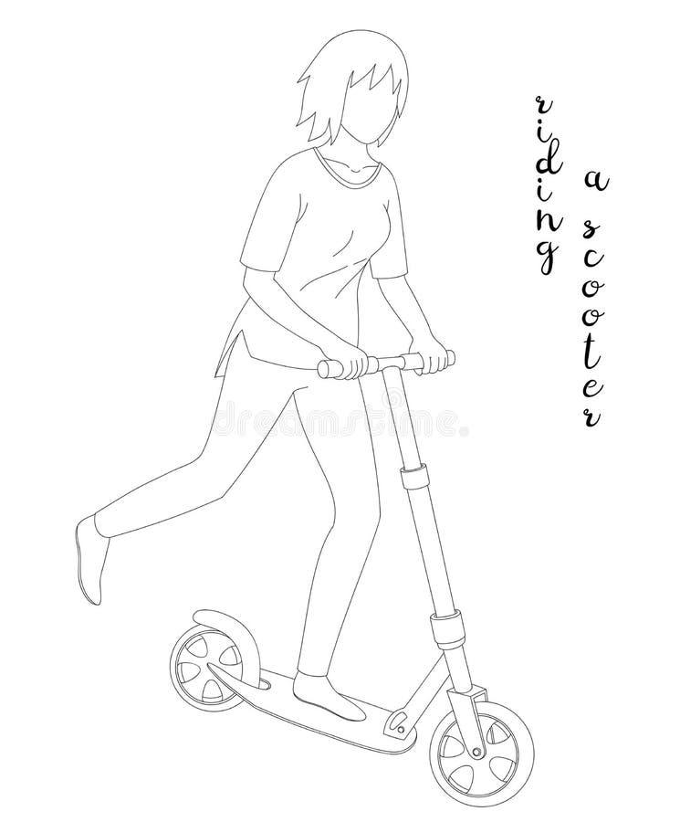Flicka som rider en sparkcykel stock illustrationer