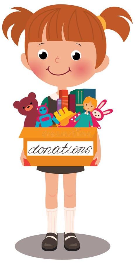 Flicka som rymmer en ask av donationer royaltyfri illustrationer