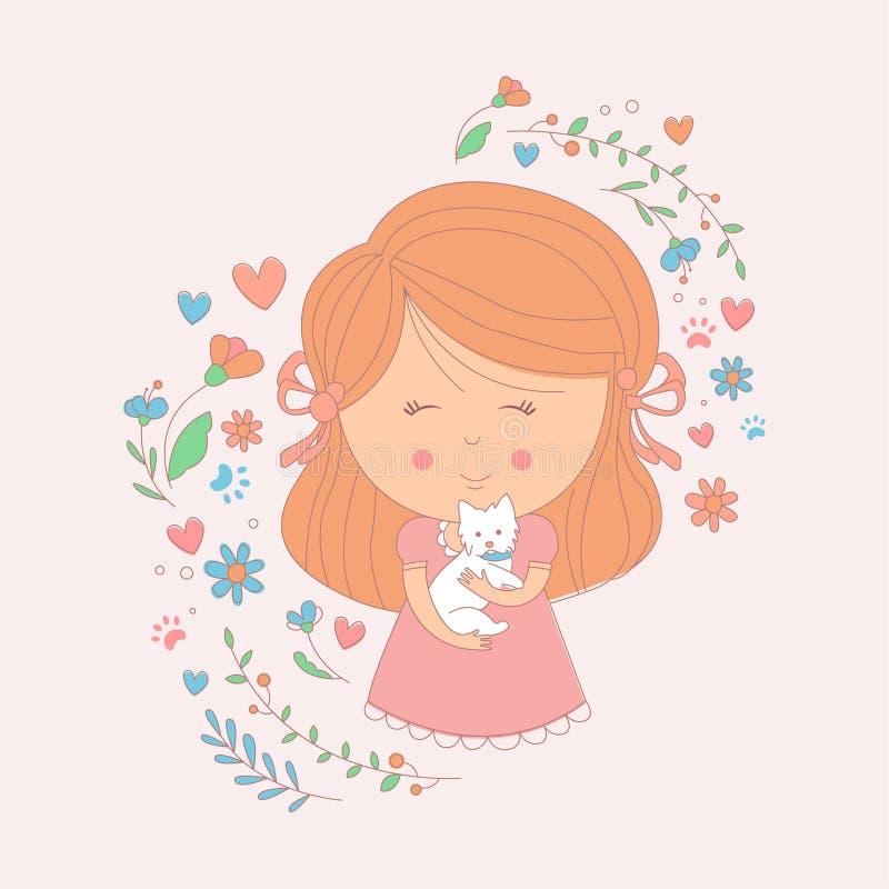 Flicka som rymmer en liten vit hund omgiven av hjärtor och blommor royaltyfri illustrationer