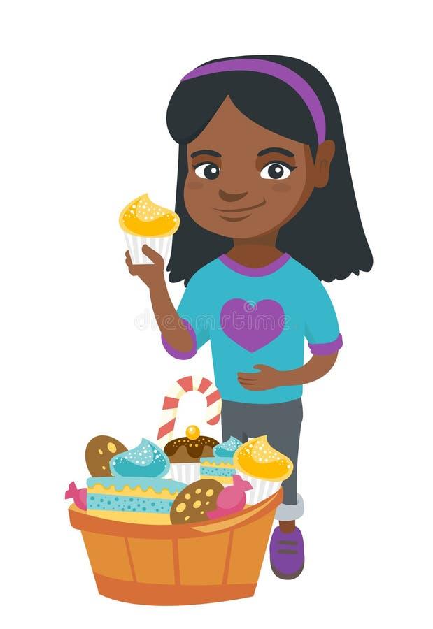 Flicka som rymmer en muffin och slår hennes buk stock illustrationer