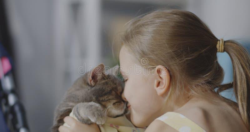 Flicka som rymmer och kysser katten royaltyfri foto