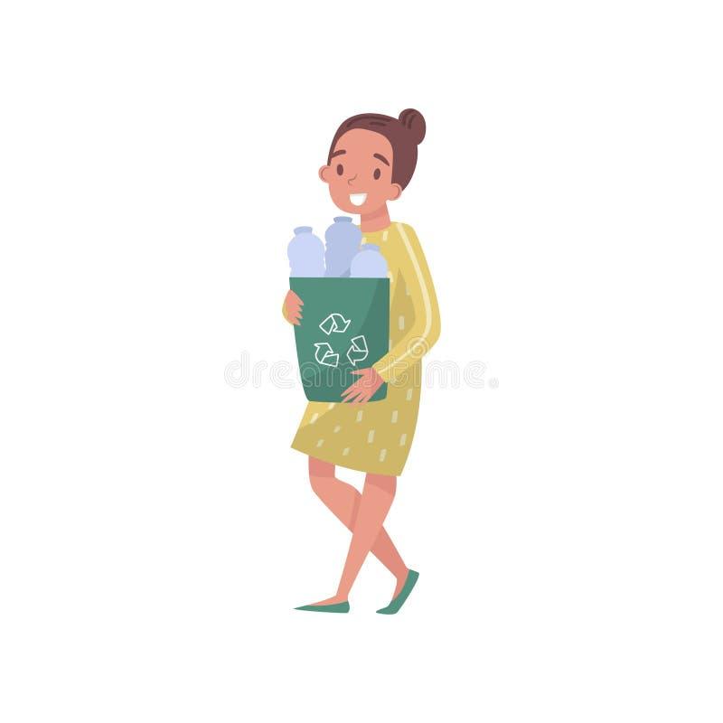 Flicka som samlar plast- flaskor, vänligt folkbegrepp för eco, skydd och bevarande av miljövektorn stock illustrationer