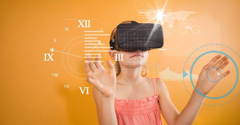 Flicka som ser klocka sedda igenom VR-exponeringsglas royaltyfri illustrationer