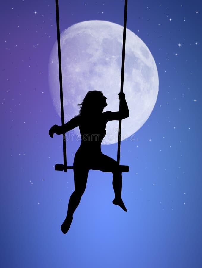 Flicka som ser månen på gunga stock illustrationer