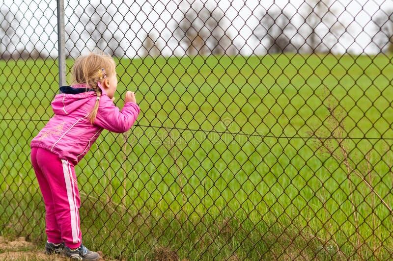 Flicka som ser till och med staketet royaltyfria bilder