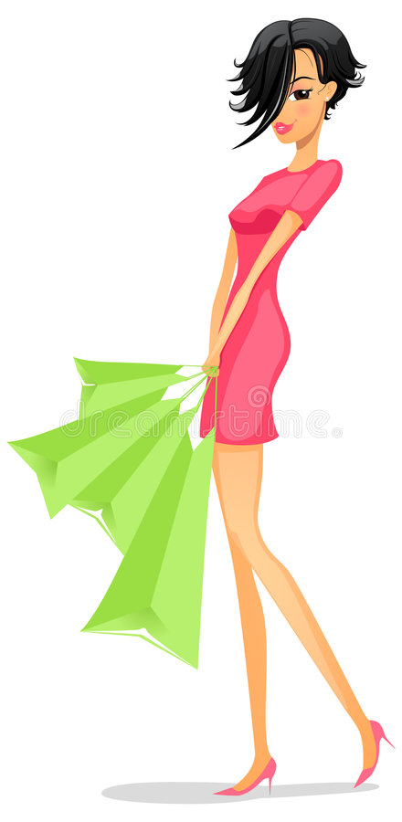 flicka som shoping stock illustrationer