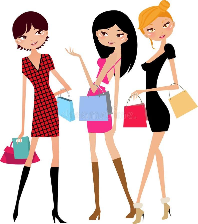 flicka som shoppar tre royaltyfri illustrationer