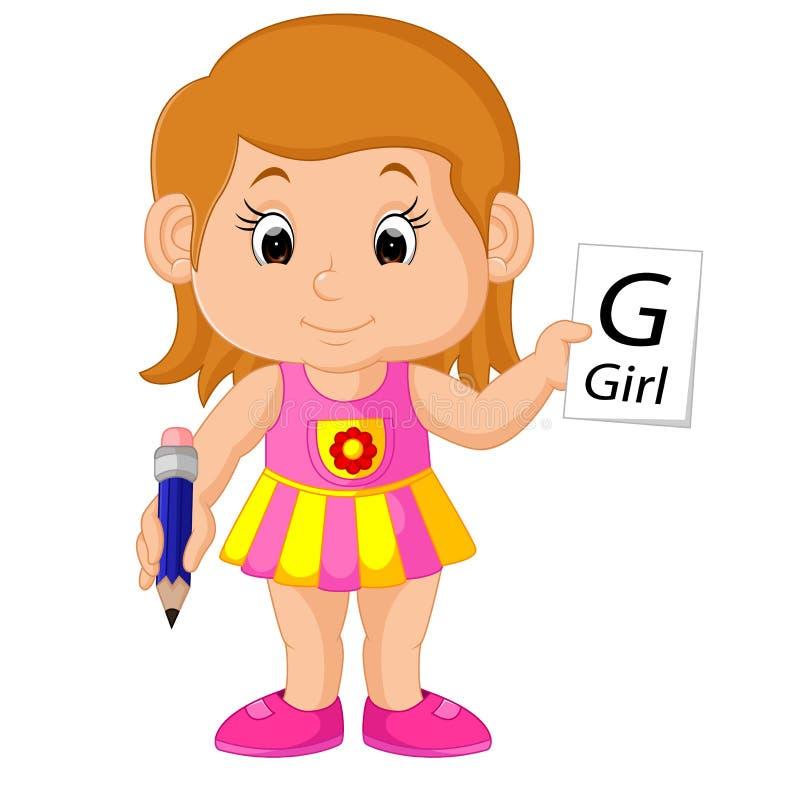 Flicka som skriver en bokstav royaltyfri illustrationer