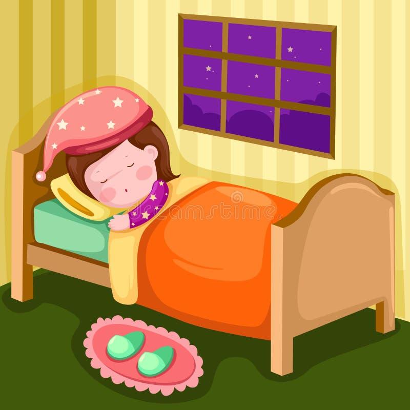 Flicka som sovar i henne lokal stock illustrationer