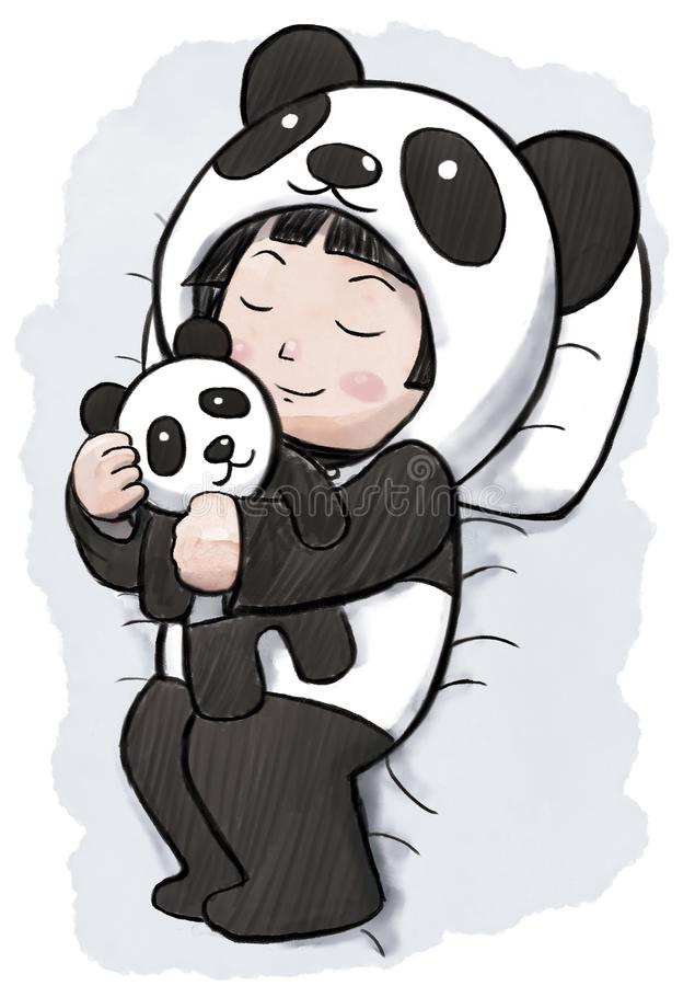 Flicka som sover bärande Panda Pajamas royaltyfri illustrationer
