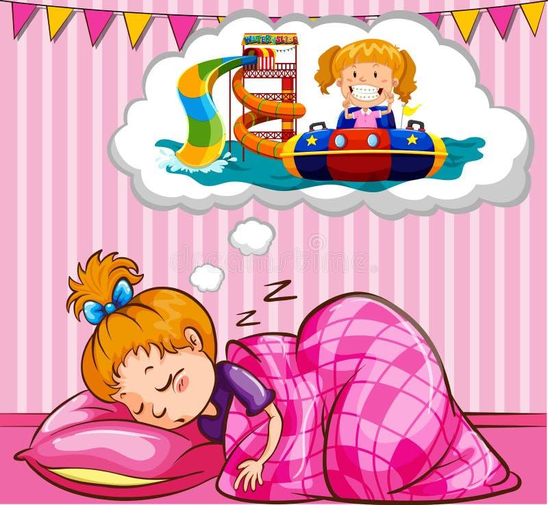 Flicka som sover och drömmer royaltyfri illustrationer
