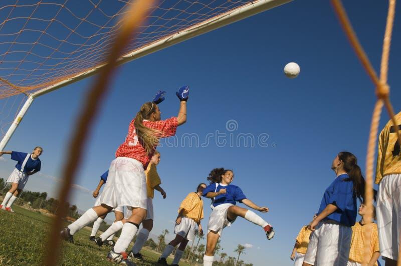 Flicka som sparkar bollen under fotbollsmatch royaltyfri bild