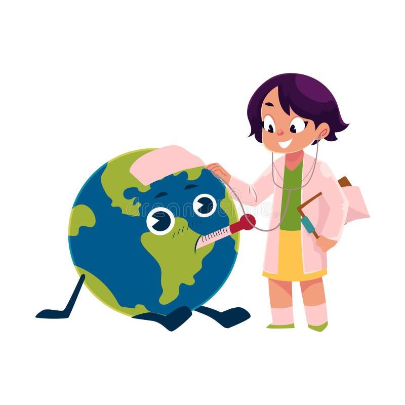 Flicka som spelar doktorn med jordklotet, jordplanettecken royaltyfri illustrationer