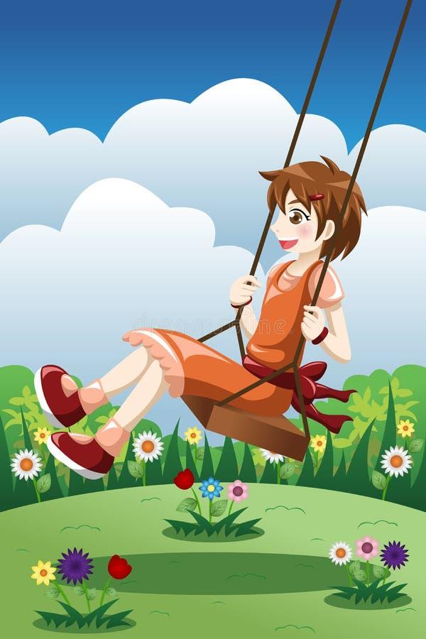 Flicka som spelar gunga i en parkera vektor illustrationer