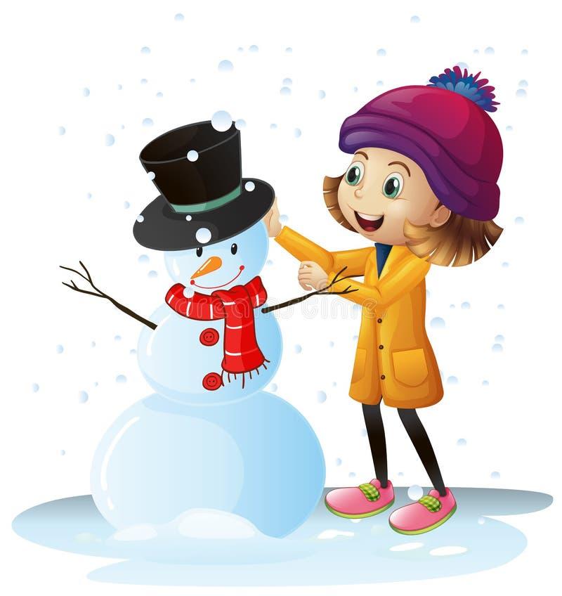 Flicka som spelar i snö med snögubben royaltyfri illustrationer