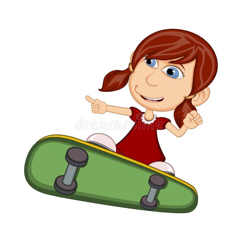 Flicka som spelar illustrationen för skateboardtecknad filmvektor vektor illustrationer