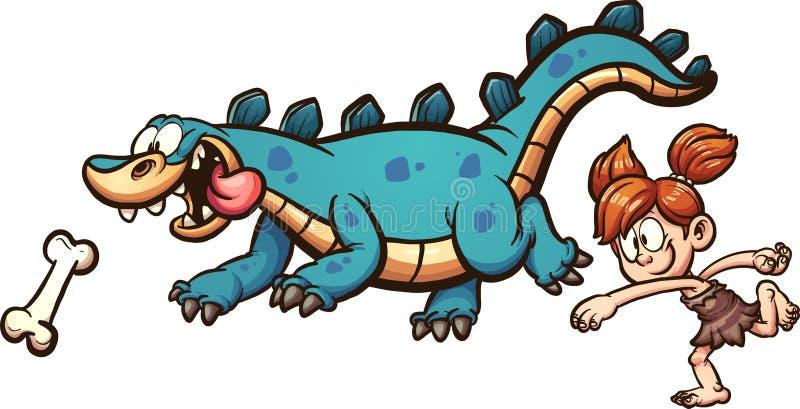 Flicka som spelar med dinosaurien stock illustrationer