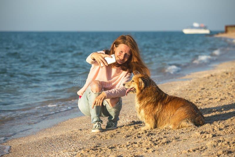 Flicka som spelar med en hund på stranden arkivbild