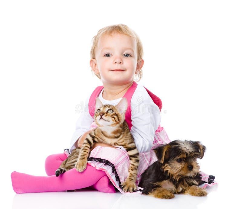 Flicka som spelar med husdjur - hund och katt se kameran arkivbild