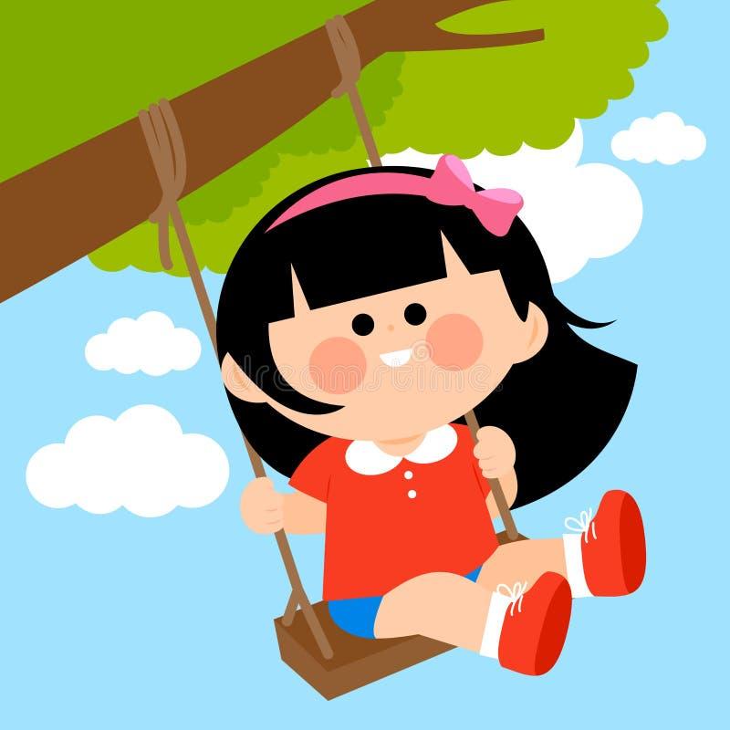Flicka som spelar på en trädgunga royaltyfri illustrationer