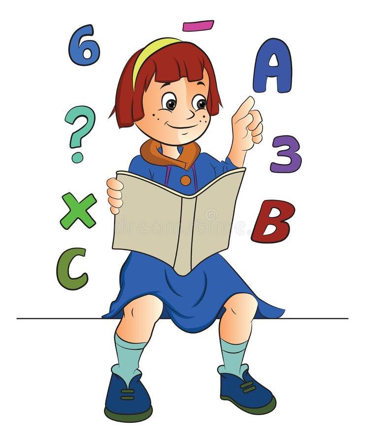 Flicka som studerar Math, illustration vektor illustrationer