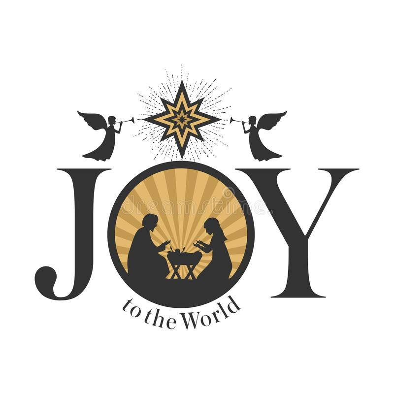 Flicka som tänker om gåvor för jul Betlehem stjärna Joseph och Mary på barnkammaren av behandla som ett barn Jesus Änglar förebåd royaltyfri illustrationer