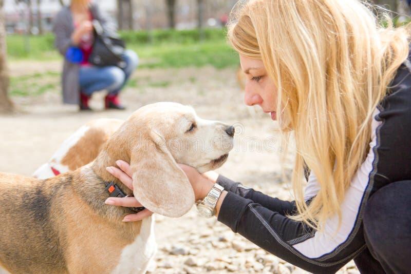 Flicka som talar till en hund med förälskelse royaltyfria foton