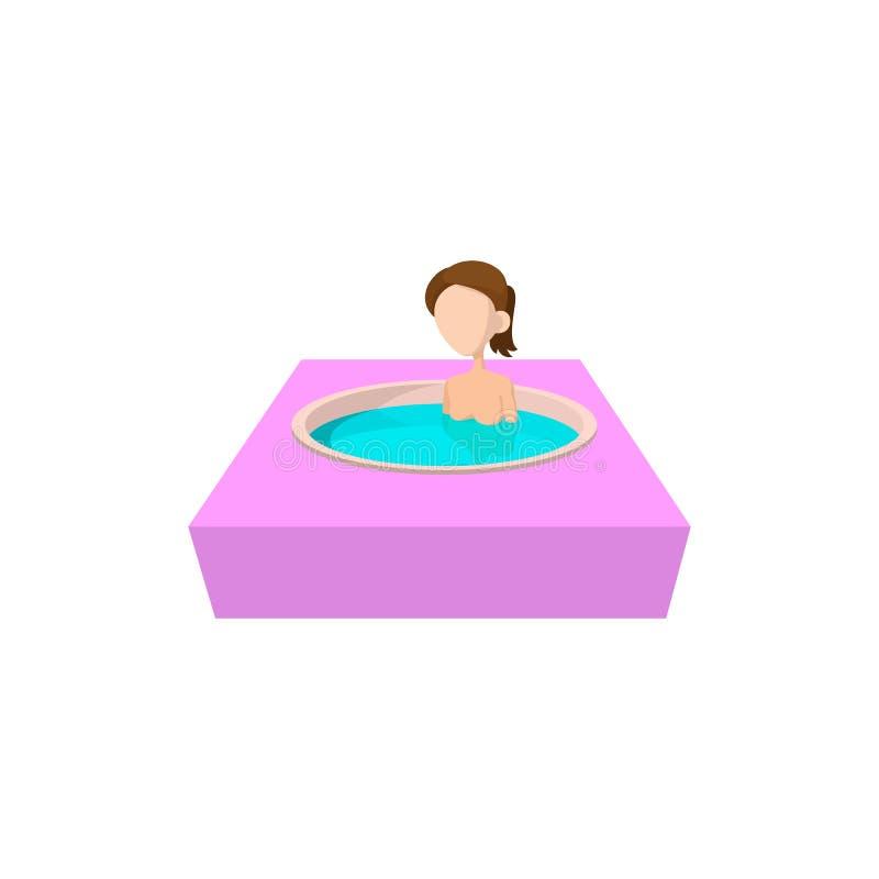 Flicka som tar badet i badkarsymbol för varm vår vektor illustrationer