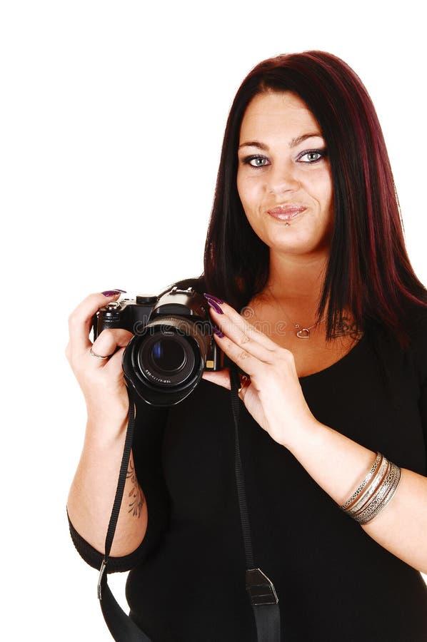Flicka som tar bilder. royaltyfri bild