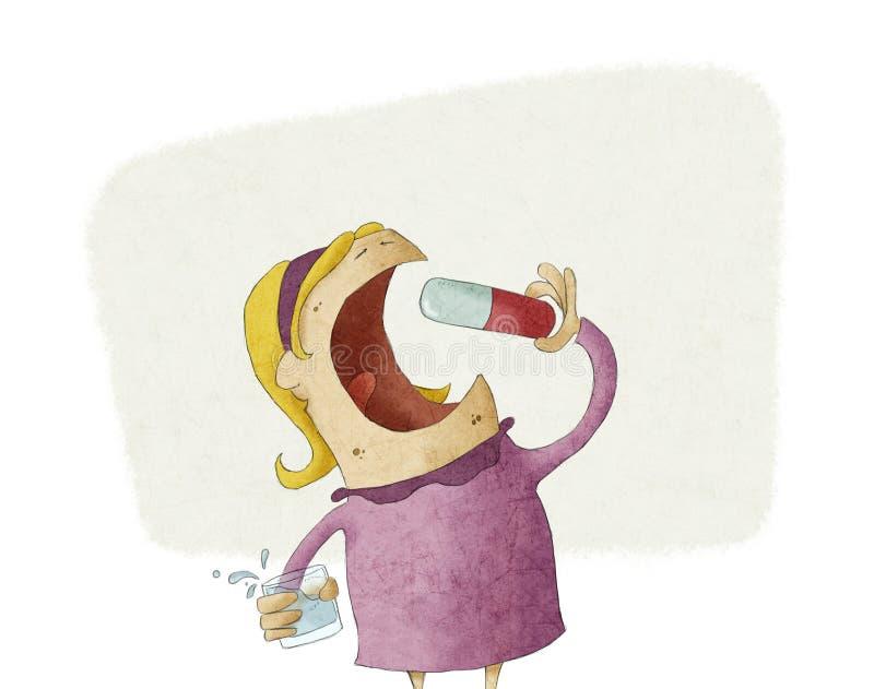 Flicka som tar en stor preventivpiller vektor illustrationer