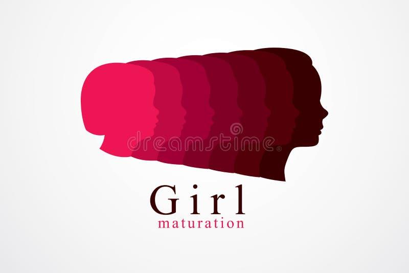 Flicka som växer till den vuxna illustrationen för ålderårsbegrepp, från barn stock illustrationer