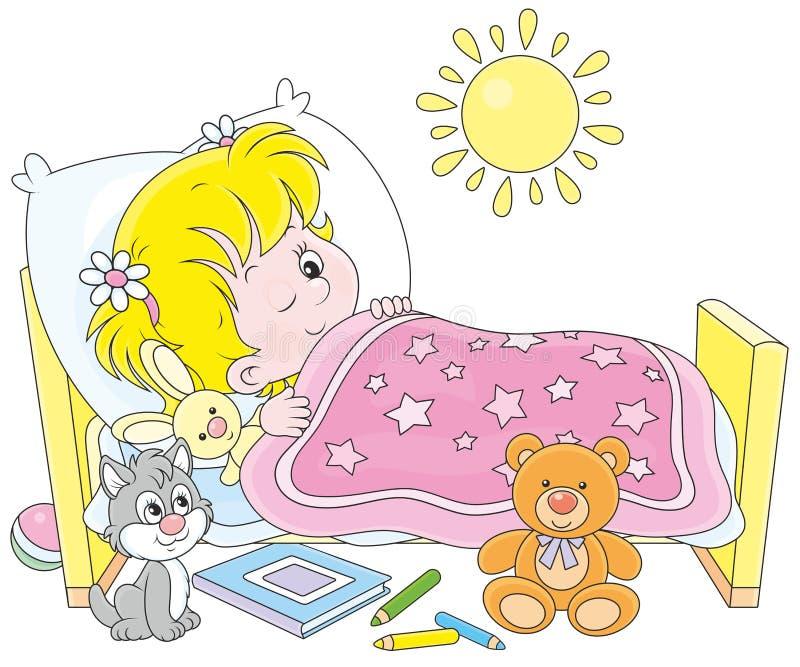 flicka som vaknar upp stock illustrationer