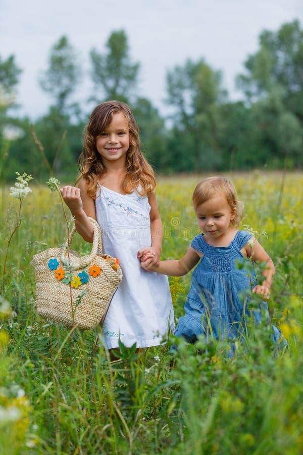 Flicka två på ängen arkivfoton