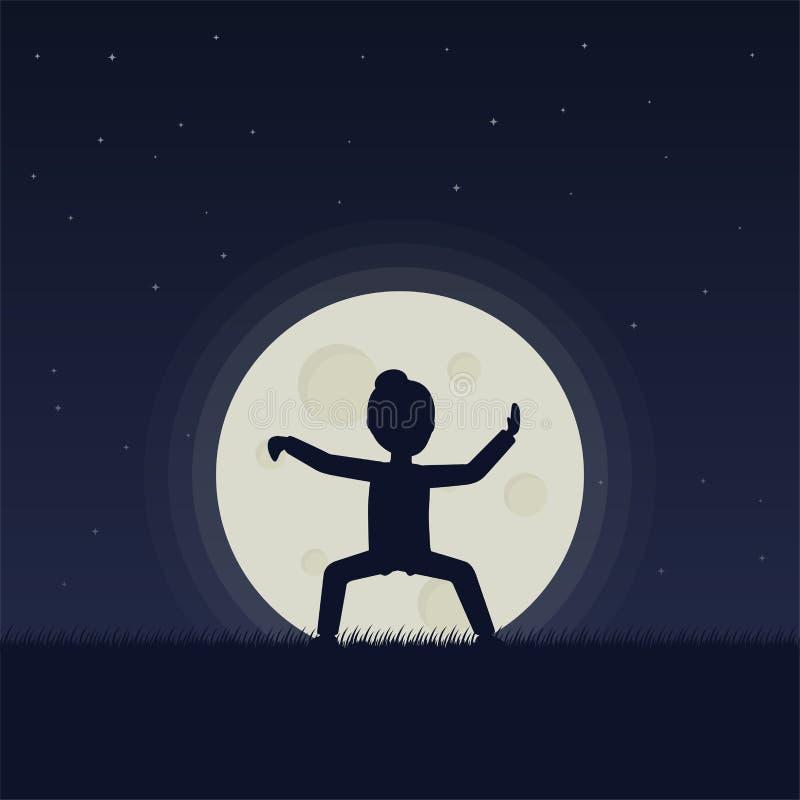 Flicka utförande qigong eller taijiquan övningar i aftonen royaltyfri illustrationer