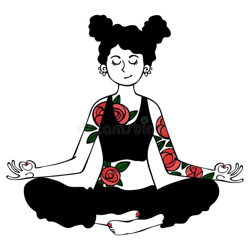 flicka yoga Lotus poserar för objektbana för bakgrund clipping isolerad white royaltyfri illustrationer